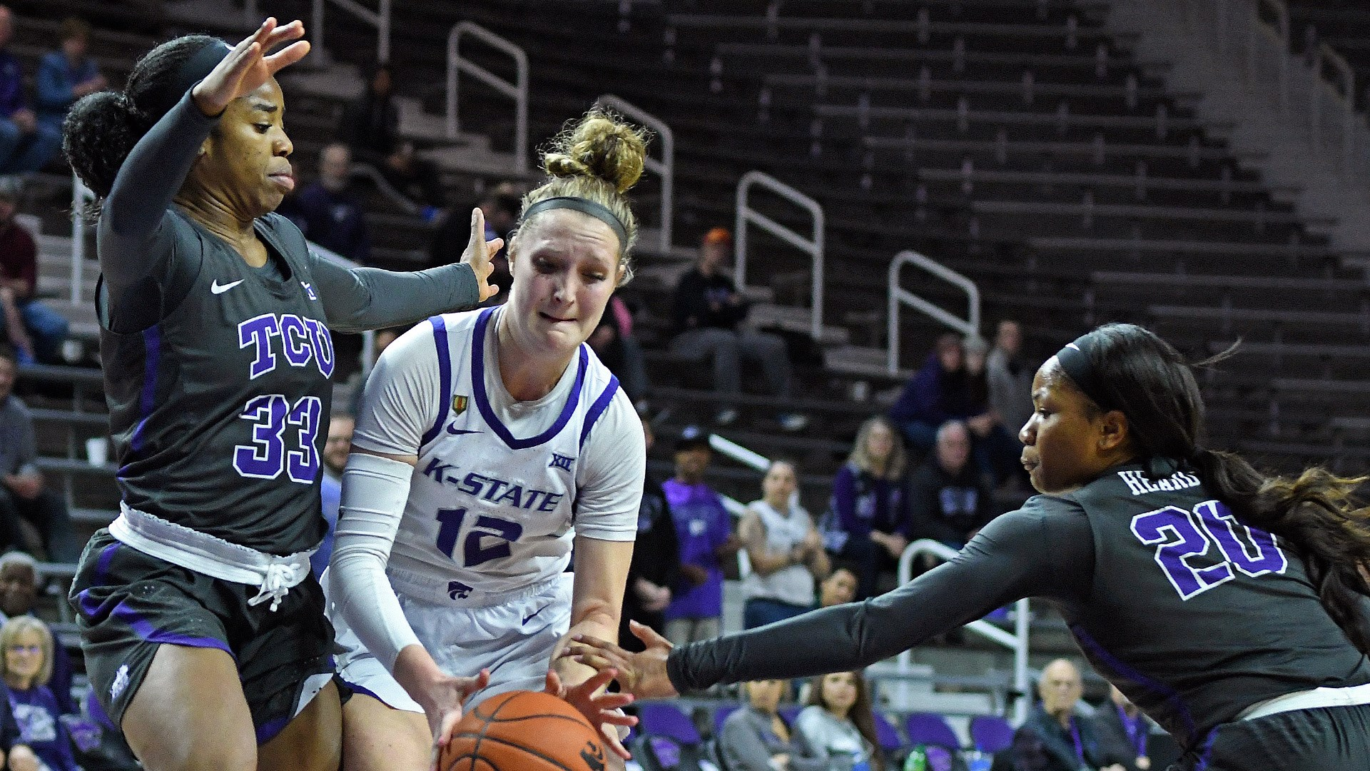 9a069e67e6d K-State s Rachel Ranke competes for a loose ball against TCU at Bramlage  Coliseum in