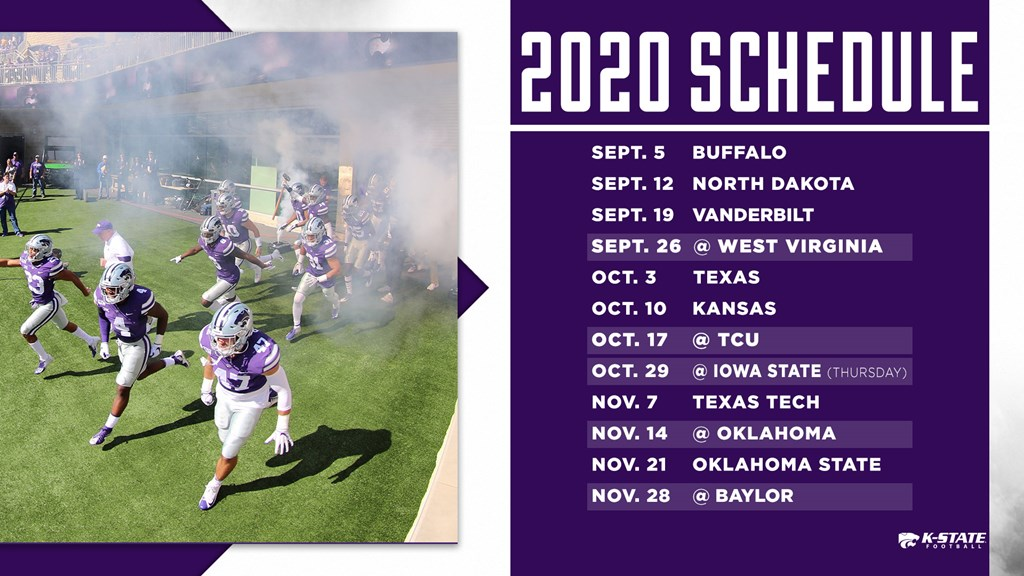 Oklahoma Football Schedule 2020.Schedule Announced For K State S 125th Season Of Football