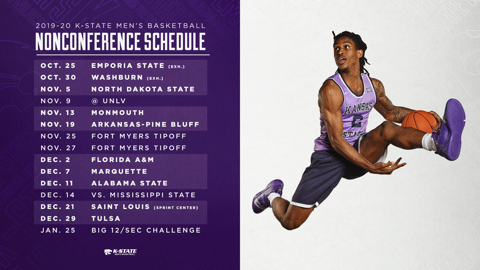 picture regarding Ku Basketball Schedule Printable known as 9 Residence Video games Spotlight K-Suggests 2019-20 Non-Convention